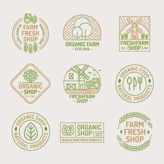 농장 신선하고 유기농 상점 로고.