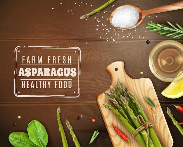 まな板、バジル、唐辛子と新鮮な農場のアスパラガス