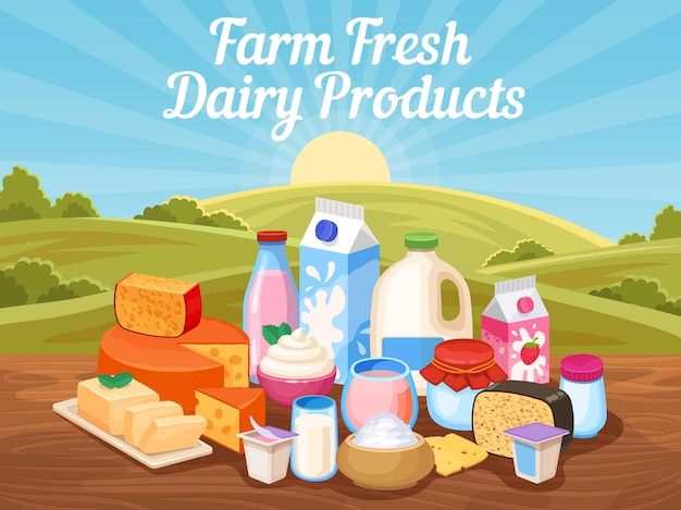 Farm fresh dairy products. natural cow milk, cheese and yogurt in rural landscape with countryside field. village organic food vector poster. illustration ingredient of diet, breakfast milky nutrition