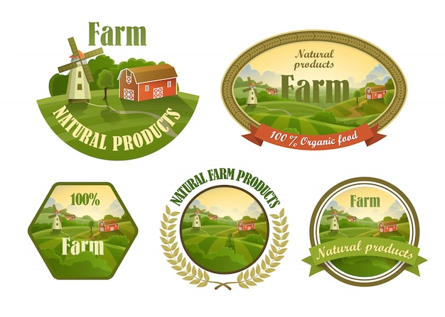 Farm fresh emblems set