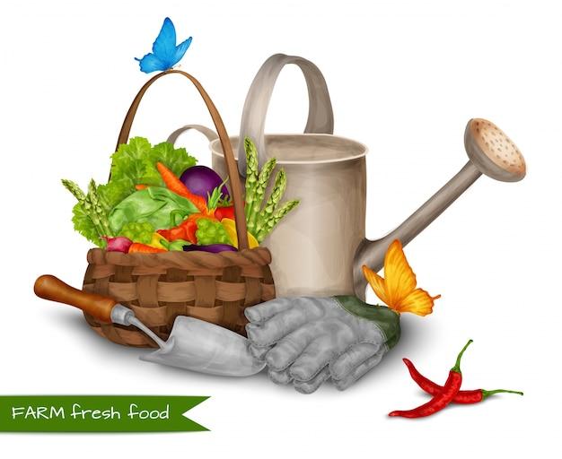 Концепция свежих продуктов в ферме