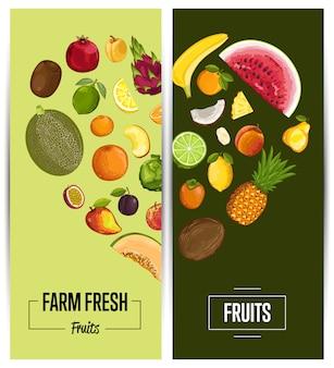 농장 신선한 과일 전단지 세트