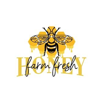 Farm fresh honey quote lettering illustration vector