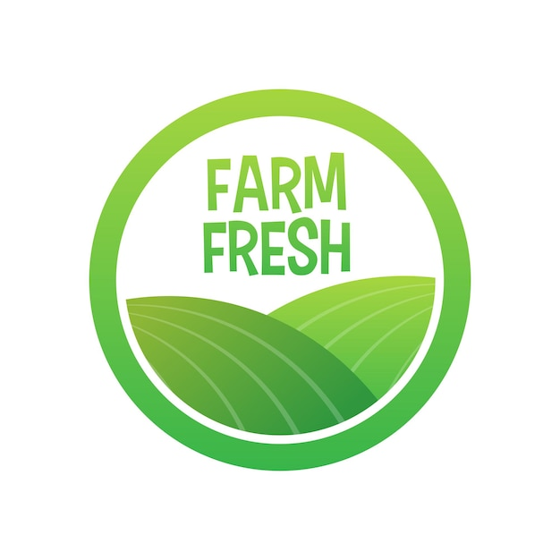 Farm fresh icon, label on white background. vector stock illustration.