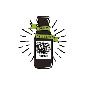 Farm fresh milk bottle with green ribbon, sunbursts and text - daily delivered. vector eco concept. isolated on white background.