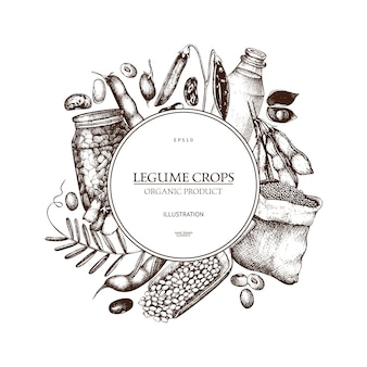 Farm fresh and organic plants template. hand sketched cereal and legume plants wreath