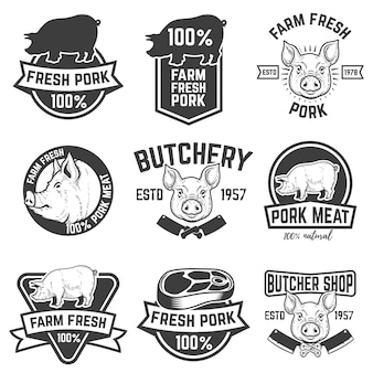 Farm fresh pork meat emblems.  elements for logo, label, sign.  illustration.