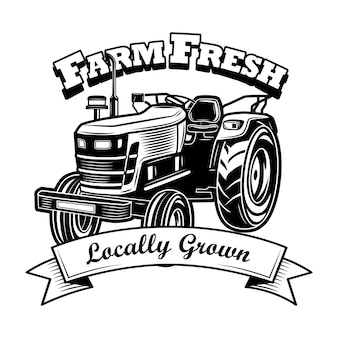 ファームの新鮮なシンボルベクトルイラスト。農家のトラクター、リボン、地元で栽培されたテキスト。エンブレム、スタンプ、ラベルテンプレートの農業または農学の概念