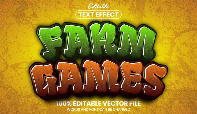 Farm games text, font style editable text effect