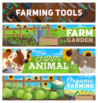 Farm gardening, farming agriculture tools, animals