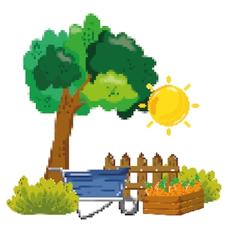Farm harvest pixelated cartoons