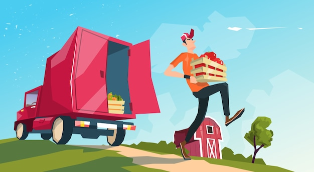 Farm harvest transportation lorry carrying fruits vegetables