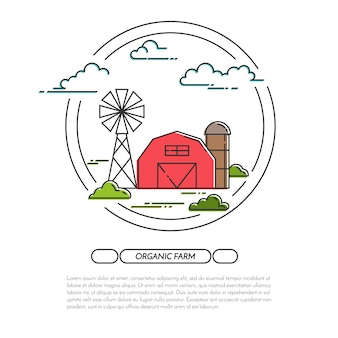 Farm horizontal banner. farmhouse landscape with barn, windmill.