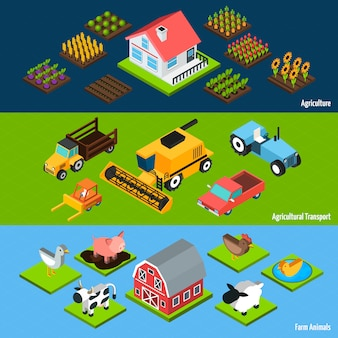 Farm horizontal isometric banners set