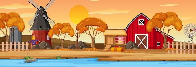 日没時のシーンでの農場の水平方向の風景