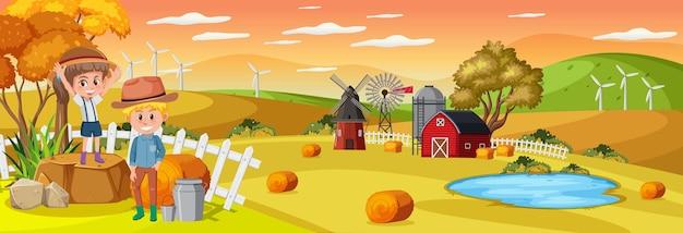 어린이 만화 캐릭터와 함께 농장 수평 풍경 장면