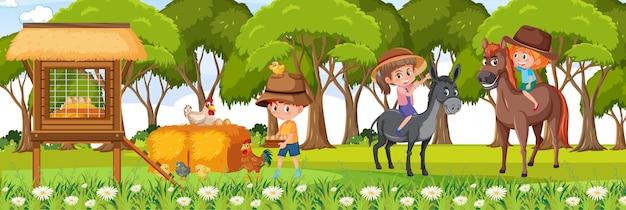 Ферма горизонтальная пейзажная сцена с большим количеством детей