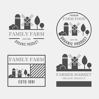 Ферма дом концепции логотип набор. шаблон с фермы пейзаж. этикетка для органических и натуральных сельскохозяйственных продуктов. темный логотип изолированы.