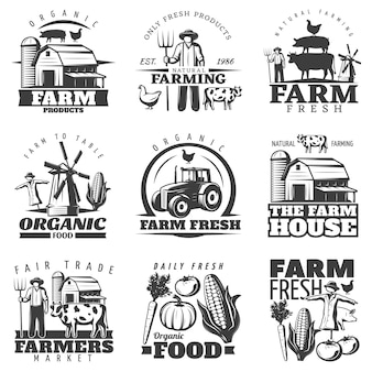 Farm house emblems set