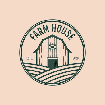 Farm house vintage logo design template