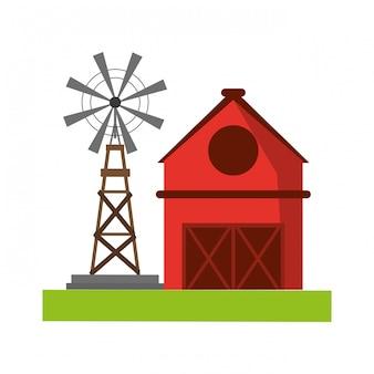 Farm house and windmill