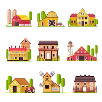 Farm house with grain and fodder barn or cattle corral vector cartoon flat icons set