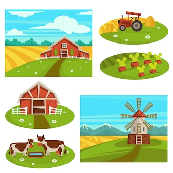 Farm household or farmer agriculture vector flat farming field and cattle pasture
