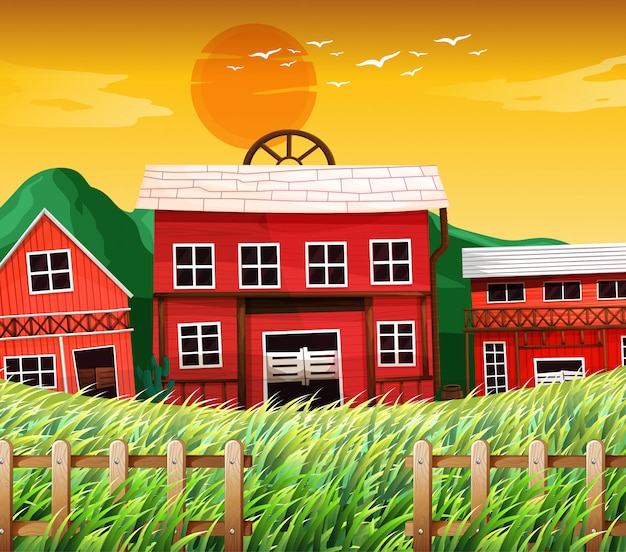 Farm houses with barns scene