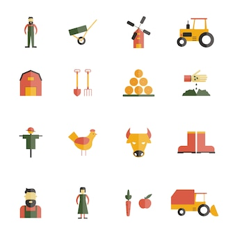 Farm icon flat set