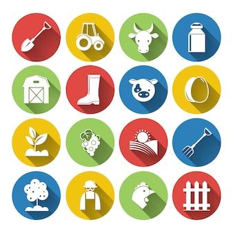Icone farm con cerchi colorati