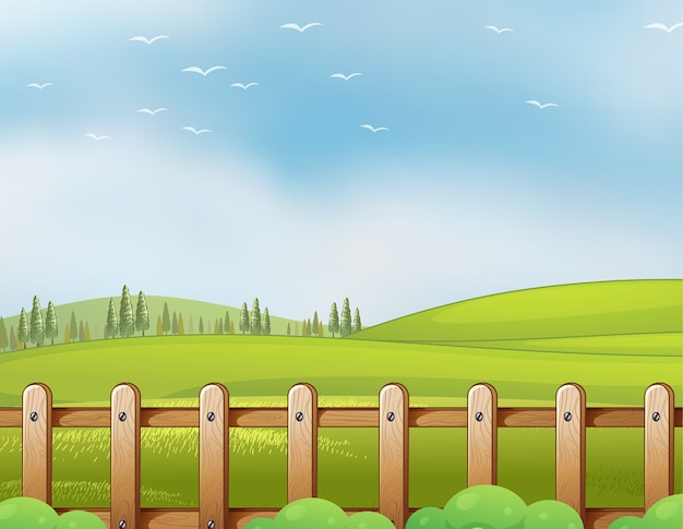 Ферма в природе с пустым ярко-голубым небом