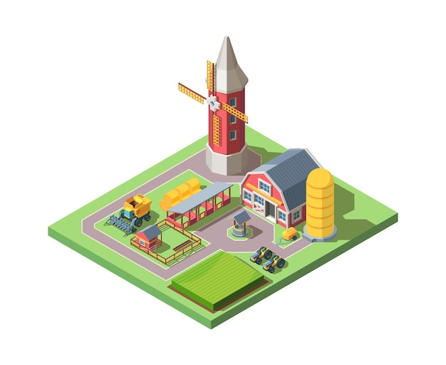 농장 아이소 메트릭 그림. 현대 농업 시스템 대형 밀 트랙터와 잘 동물 펜 건초 더미와 사일로 개념 진보적 인 농지 소유를 결합합니다.