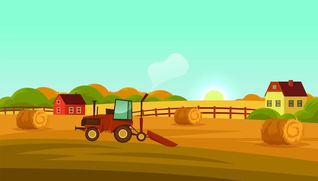 농장 토지 또는 시골 풍경 벡터 배너