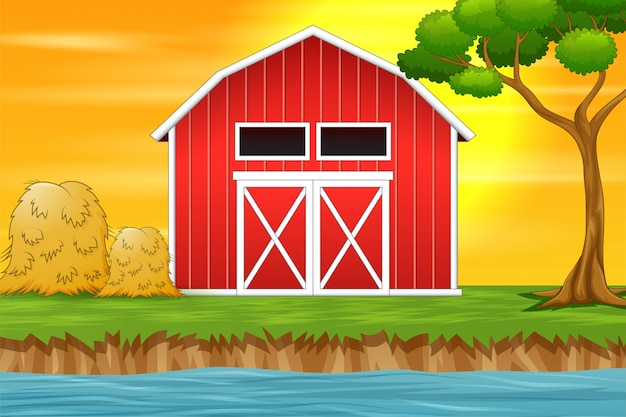 Farm landscape background with red barn