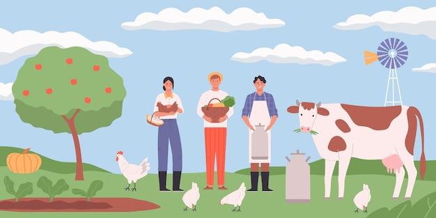 Fondo piatto del paesaggio dell'azienda agricola con la mucca delle galline e gli agricoltori felici che tengono il cestino delle uova