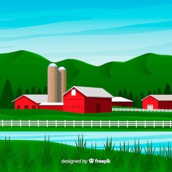 Farm landscape in flat style