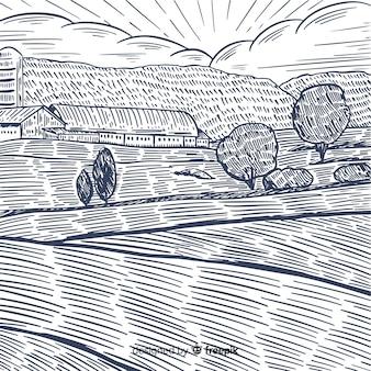 Farm landscape in hand drawn style