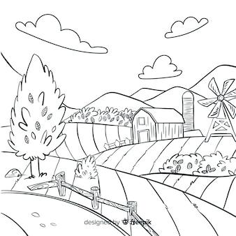 손으로 그린 스타일 농장 풍경