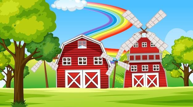 納屋と風車のある農場の風景シーン