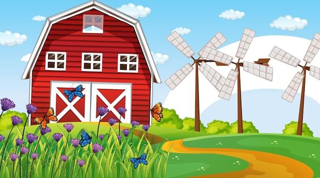 헛간과 풍차가 있는 농장 풍경