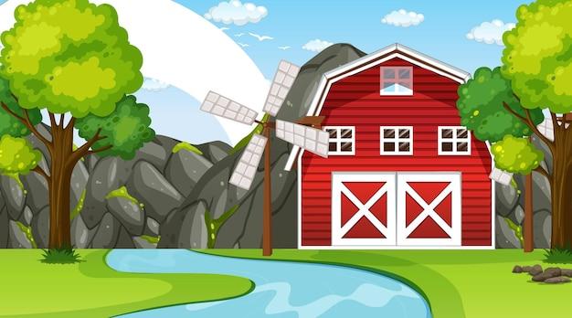 Farm landscape scene with barn and windmill