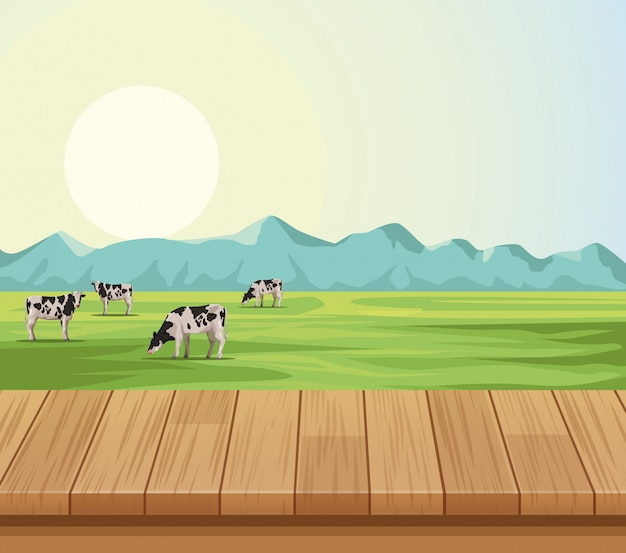 Farm landscape scenery