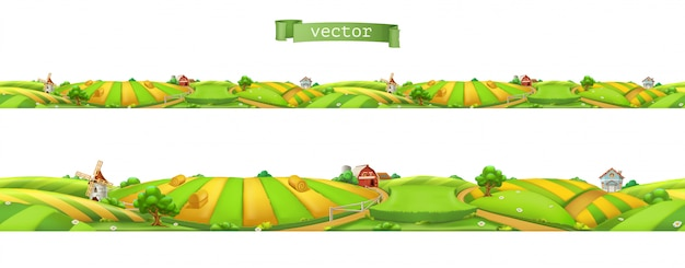 Farm. landscape, seamless panorama, vector