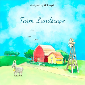 Farm landscape in watercolor style