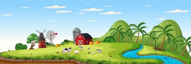 Фермерский пейзаж с животноводческой фермой и красным сараем в летний сезон