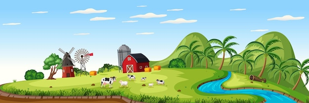 Farm landscape with animal farm and red barn in summer season