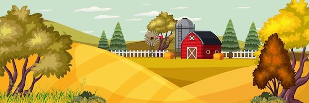 가을 시즌에 필드와 붉은 헛간 농장 풍경