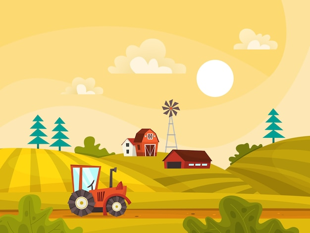 緑の野原、家、トラクターと農場の風景