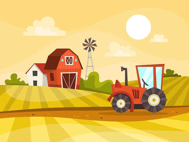 Farm landscape with green field, house and tractor