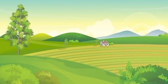 Farm landscape with mountains and hills